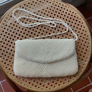 VTG La Regale white beaded purse/clutch